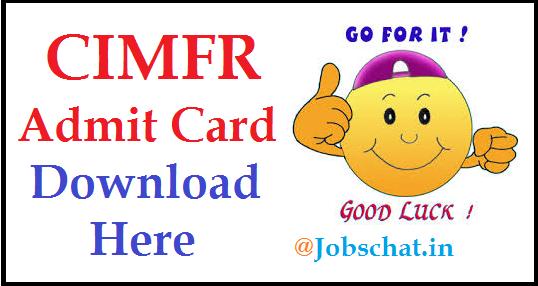 CIMFR Admit Card