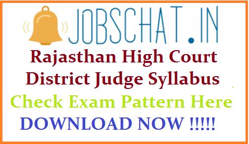 Rajasthan High Court District Judge Syllabus