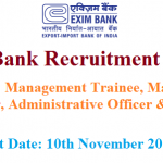 Exim Bank Recruitment 2018 | Apply For 30(20+8+2) Management Trainee, Manager,  IT Officers Jobs @ www.eximbankindia.in