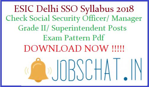 ESIC Delhi SSO Syllabus