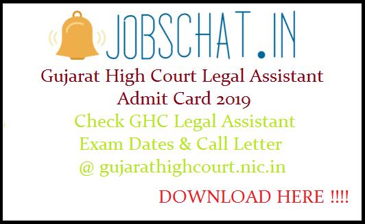 Gujarat High Court Legal Assistant Admit Card