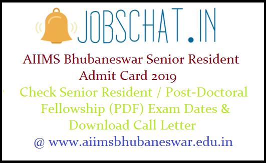 AIIMS Bhubaneswar Senior Resident Admit Card