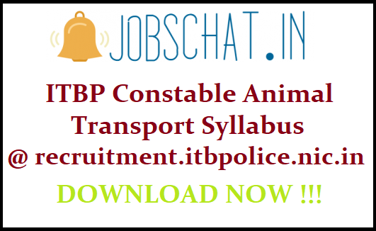 ITBP Constable Animal Transport Syllabus